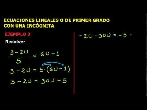 Ecuaciones lineales o
