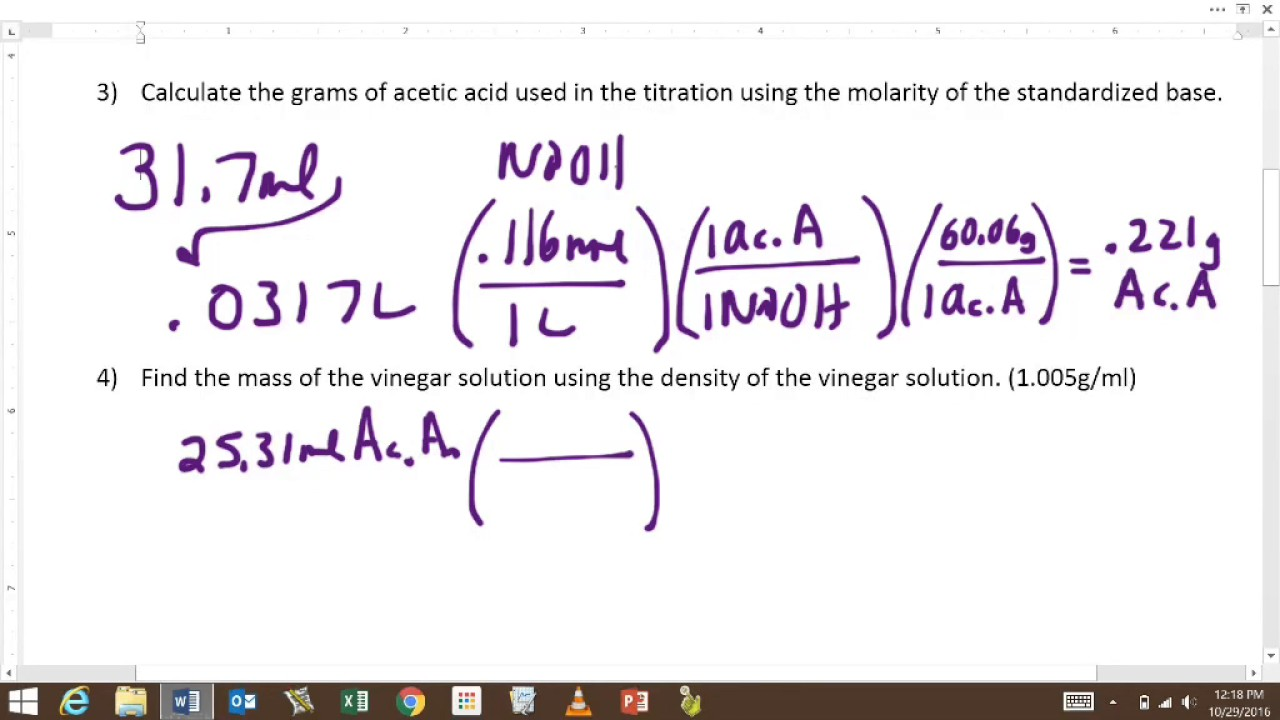 how to find the molarity of an acid