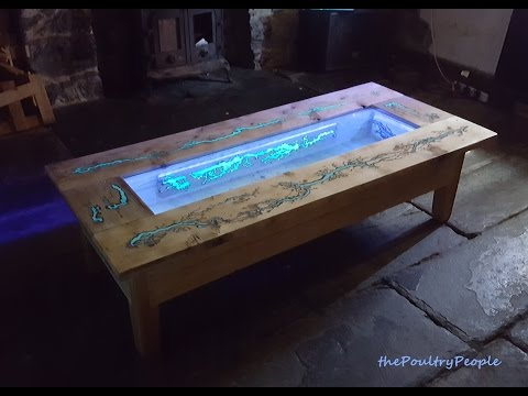 DIY Pallet Coffee Table - Glow in the dark wood projects with Lichtenberg Figure Epoxy Resin