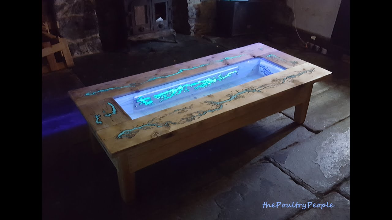 DIY Pallet Coffee Table   Glow In The Dark Wood Projects With Lichtenberg  Figure   YouTube