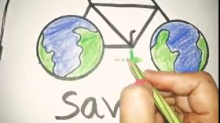 DRAWIING ON GO GREEN-SAVE FUEL AND SAVE FUTURE-Draw step by step