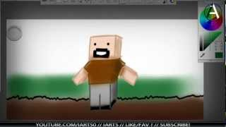 Desenhando Notch, minecraft skin.