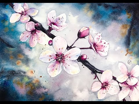 Watercolor Cherry Blossom Flowers Watercolor Painting