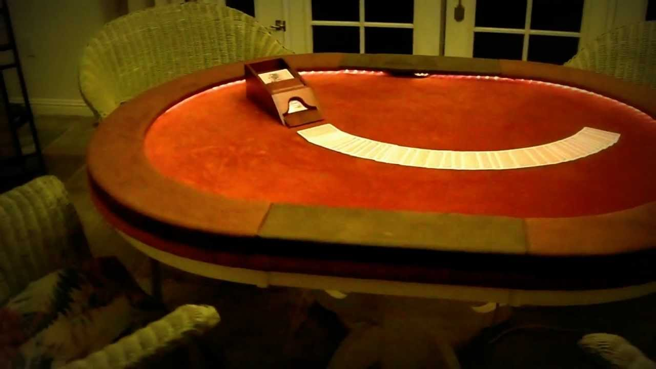 Home Made Poker Table With Lights U0026 Raised Suede Arm Rests