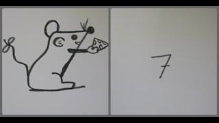 طريقة رسم فأر - تحويل 7 الى فأر بطريقة سهلة جدا