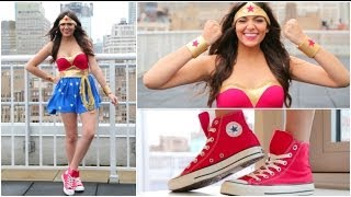 DIY Wonder Woman Halloween Costume + Makeup! Thumbnail