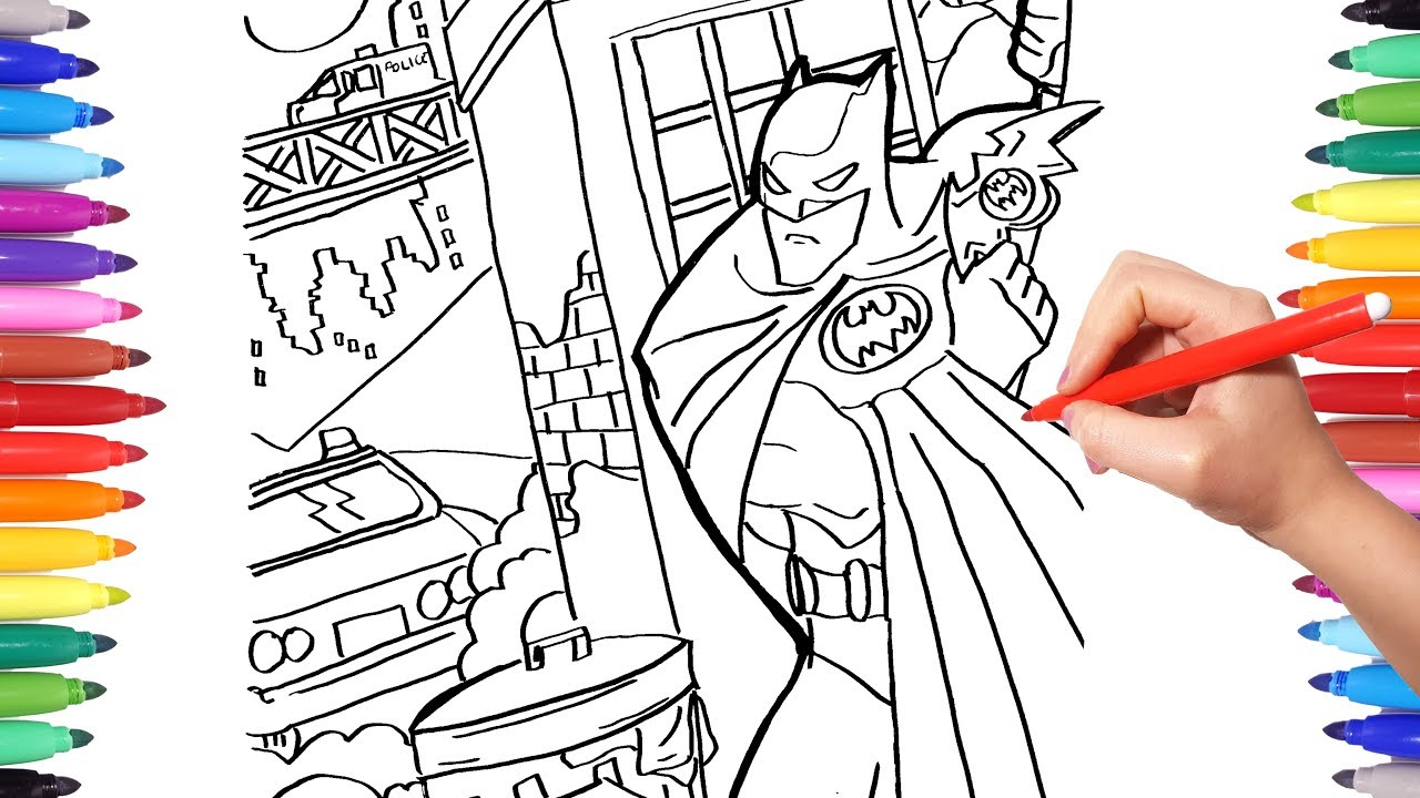 Batman In Gotham City Coloring Pages Batman Coloring The Dark Knight Coloring Book For Kids