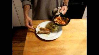 Cookin 41 Hot Italian Sausage Mashed Potatoes Carrots Mushrooms Sriracha Hot Chili Sauce