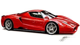 Realistic Car Drawing - Ferrari Enzo - Time Lapse