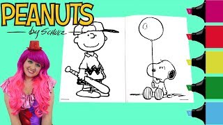 Coloring Snoopy & Charlie Brown Peanuts Coloring Book Page Colored Markers | KiMMi THE CLOWN