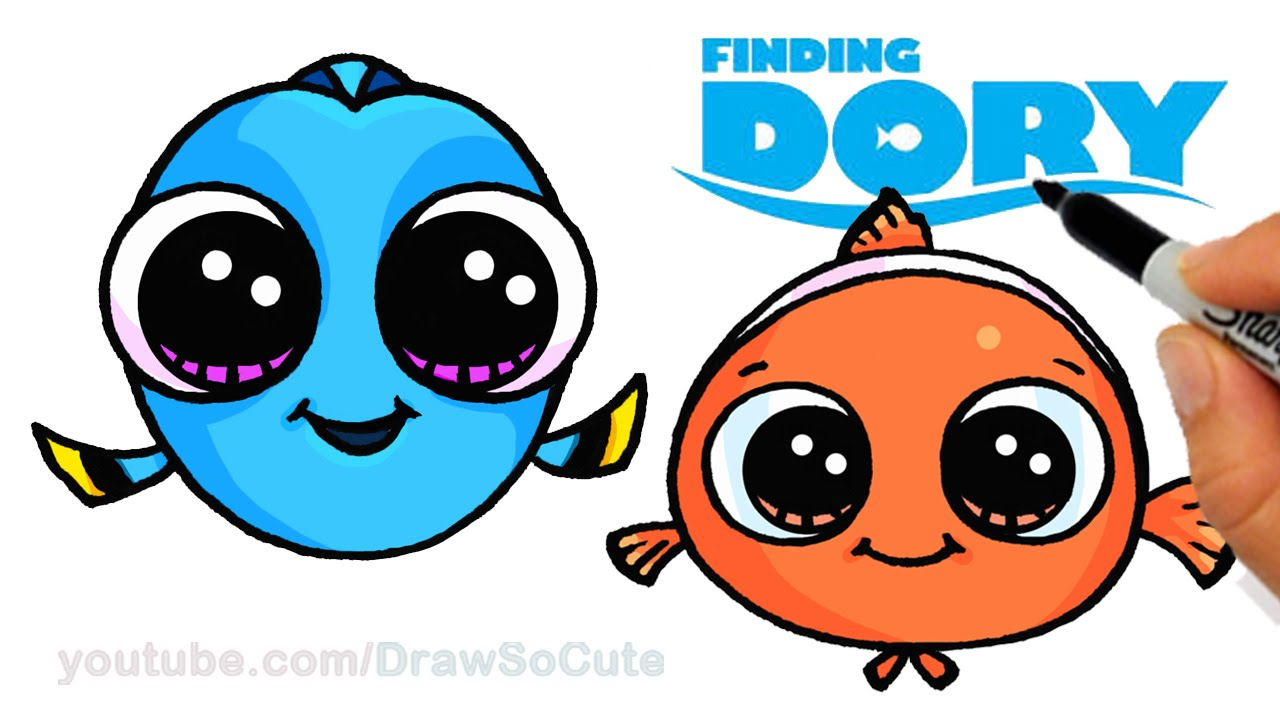 how to draw baby dory and nemo easy step by step cute finding