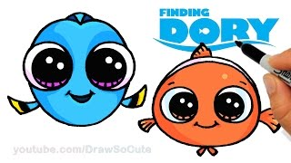 How to Draw Baby Dory and Nemo Easy step by step CUTE - Finding Dory Movie