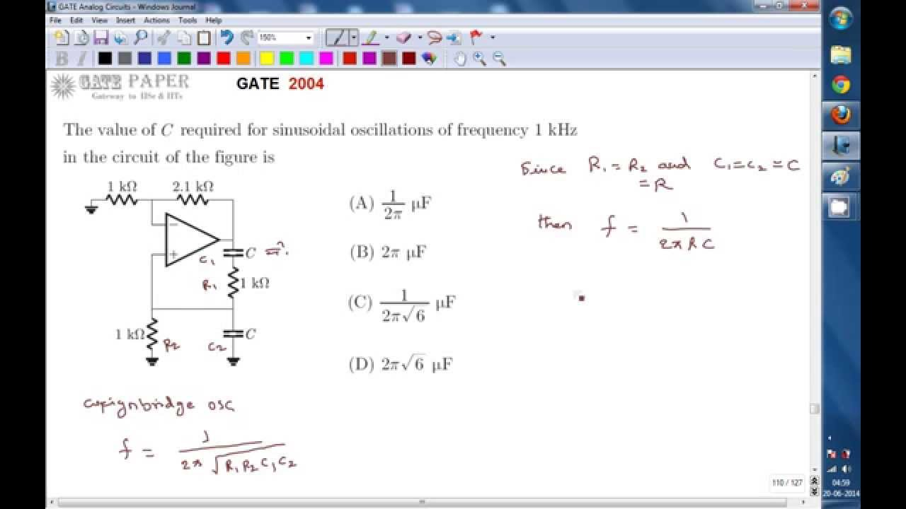 Gate 2004 Ece Design Of Weign Bridge Oscillator Youtube 555 Propagation Delay Schematic