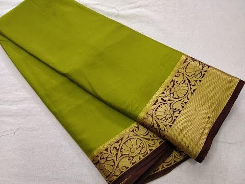 Pure Mysore Crepe Silk Saree Contrast Jacquard Border || traditional/crepe silk sarees/fancy saree