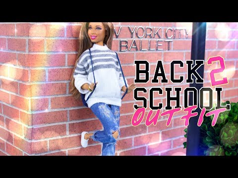 DIY - How To Make: Doll Distressed Jeans And Stylish Sweater | BACK TO SCHOOL Outfit