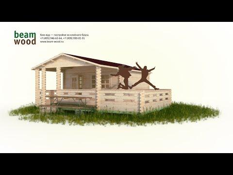Дачный домик из бруса 4x4 с верандой и террасой (сборка 3d)