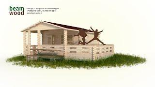 Дачный домик из бруса 4x4 с верандой и террасой (сборка 3d)(Одноэтажный дачный дом с верандой и террасой. Размеры: 4,5 х 6 х 3,1 м. Площадь комнаты 13,7, веранды 6,7 кв. м + терра..., 2016-05-07T21:59:49.000Z)