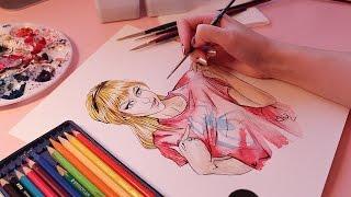 Painting Gwen Stacy w/ Watercolours (ASMR calmly spoken + art sounds)