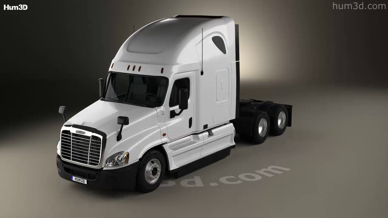 Freightliner cascadia sleeper cab tractor truck 2007 3d model by hum3d com