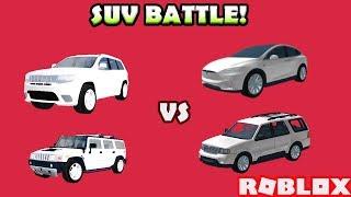 Suv battle! Trackhawk vs Model X vs Navigator vs Hummer! | Roblox: Vehicle Simulator