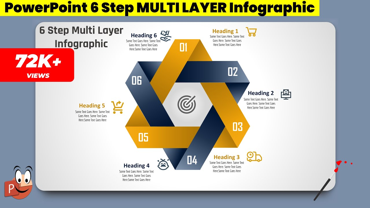 2 create 6 step multi layer infographic  powerpoint