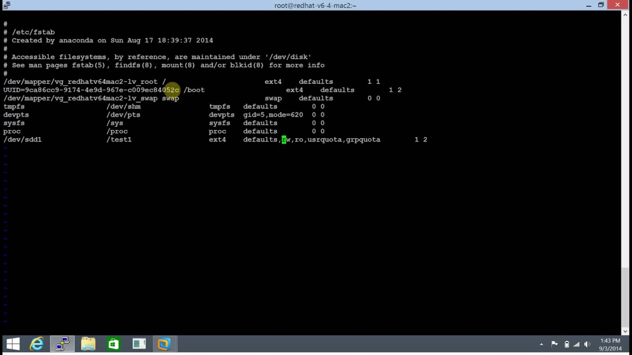 Contents of /etc/fstab File in Redhat Linux 6