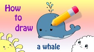 How To Draw a Cute Whale ^_^
