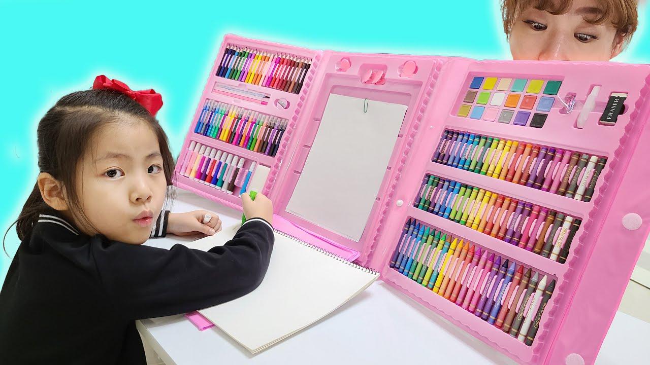 서은이와 대형 크레파스 여우 아저씨 문방구 가게 놀이 Seoeun for kids about Large Crayon Story