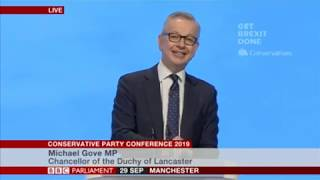 Chancellor of the Duchy of Lancaster Michael Gove addresses Tory Party conference
