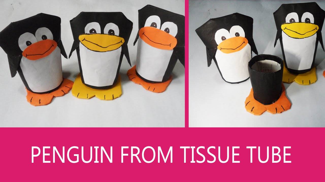 Penguin craft gift box out of toilet paper tube youtube jeuxipadfo Image collections