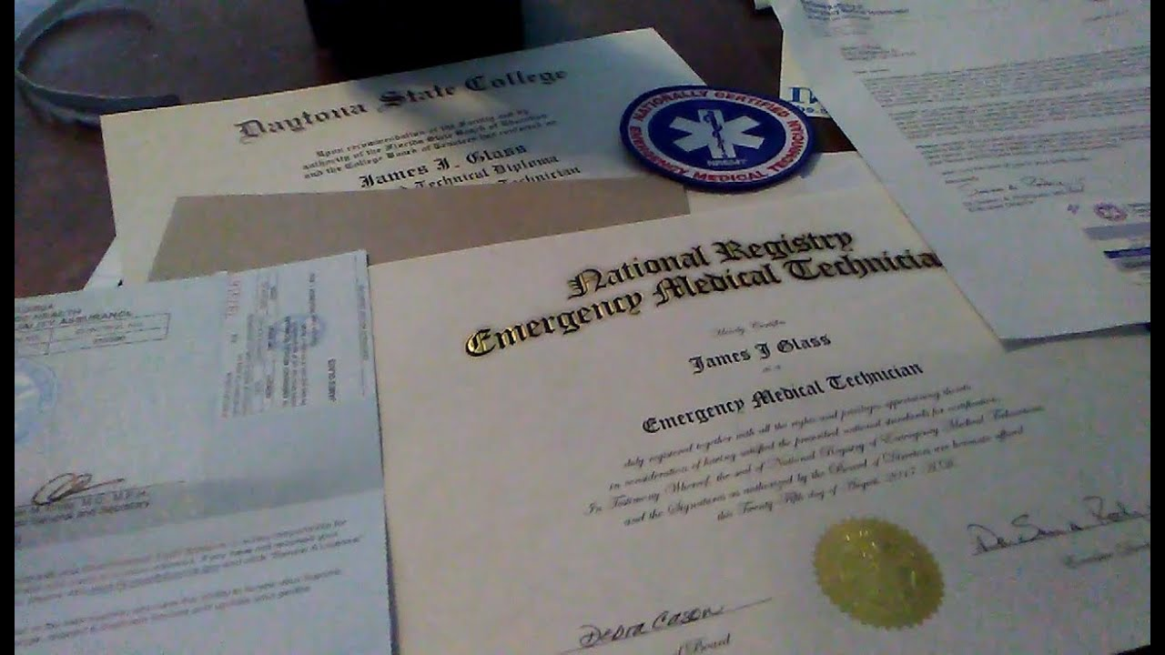National Emt Certificate State License Youtube