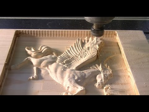 158 CNC router machining a 3D relief of Pegasus