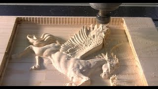 158 CNC Router 6090 machining a 3D relief of Pegasus