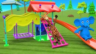 Elephant & Giraffe Cartoon Animals Building Slider for Kids - Children Fun Play Learning Videos