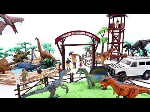 Mega Dinosaur Playset With Jurassic World Dino Toys. Funny DIY Play For Kids