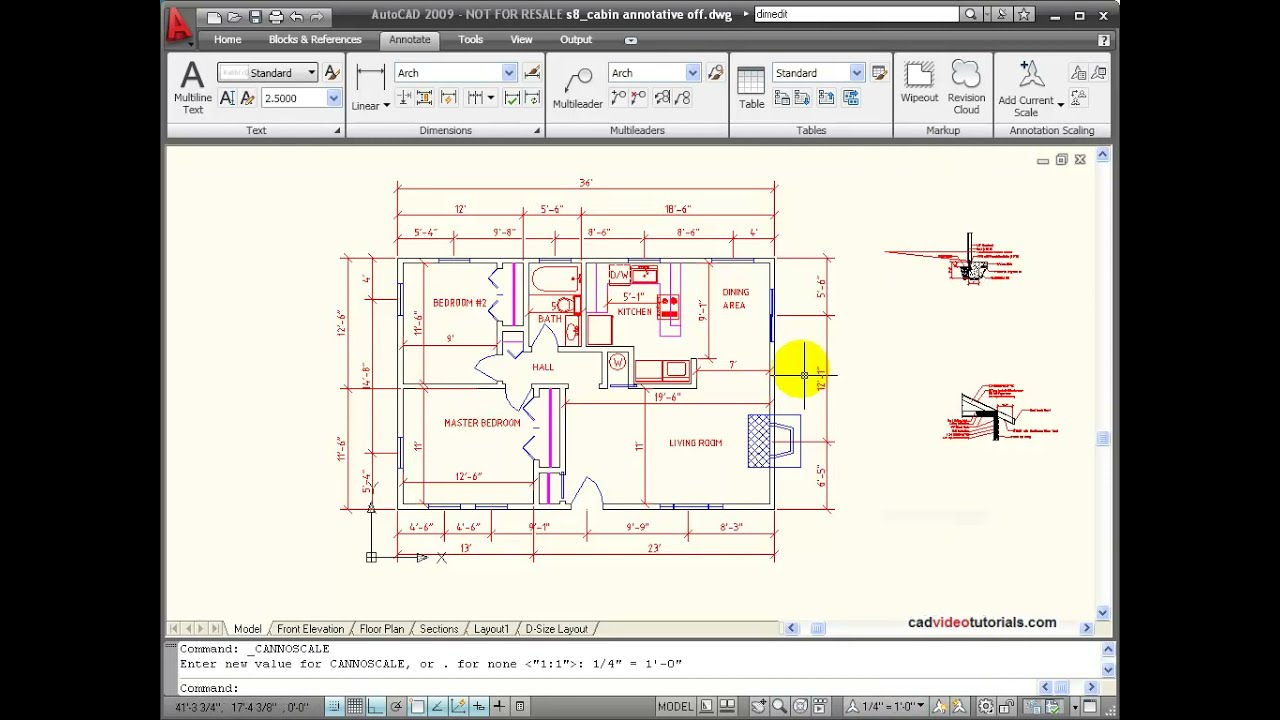Autocad tutorial applying annotation scales to an for Draw a room to scale