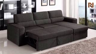 Fabric Brown Sectional Sofa Bed VGMB1100