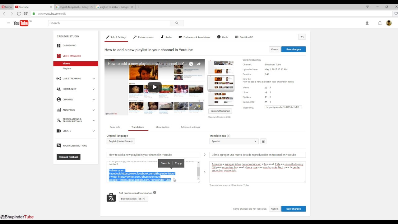 how to translate youtube video to other language
