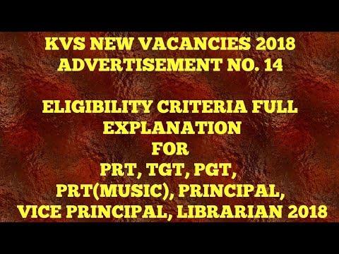 KVS NEW VACANCIES 2018 ELIGIBILITY CRITERIA EXPLAIN PRT, TGT, PGT, PRT MUSIC, VICE/PRINCIPAL II