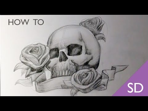 How to draw a skull with roses tattoo skull drawings