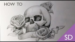 How to Draw a Skull with Roses Tattoo - Skull Drawings