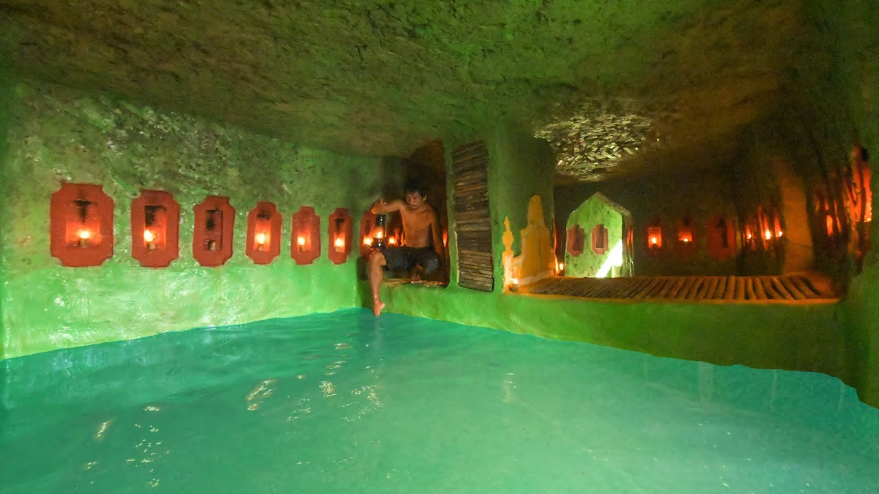 32 Day In Jungle Build Green Secret House Underground Water Slide Tunnel Swimming Pools Underground