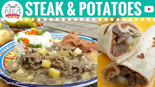 Steak and Potatoes Burritos  Mexican Food - Spicy Latina Mom