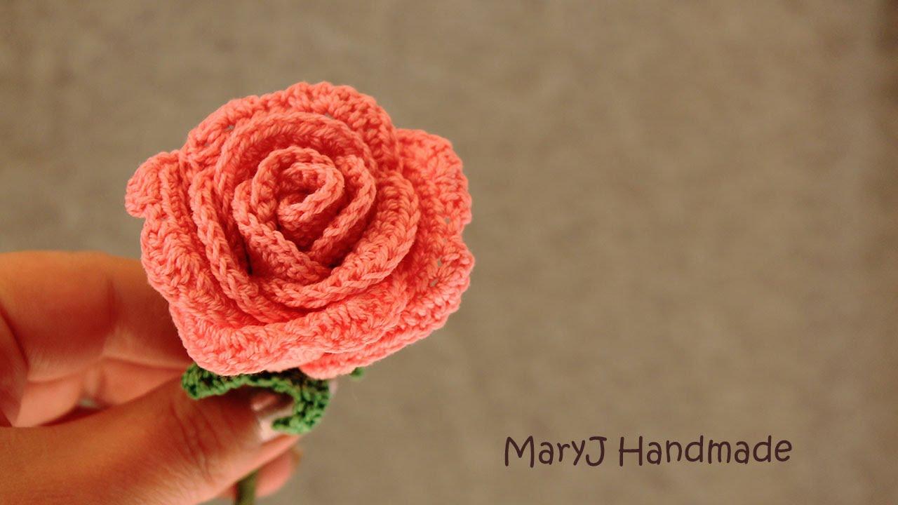 Amigurumi Flower Tutorial : Tutorial how to crochet a rose in english youtube