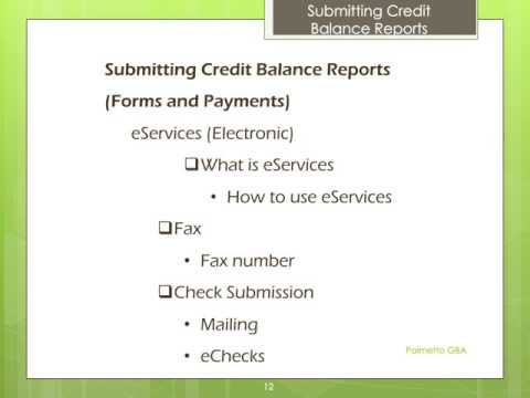 Credit Balance - Submitting the Quarterly Report