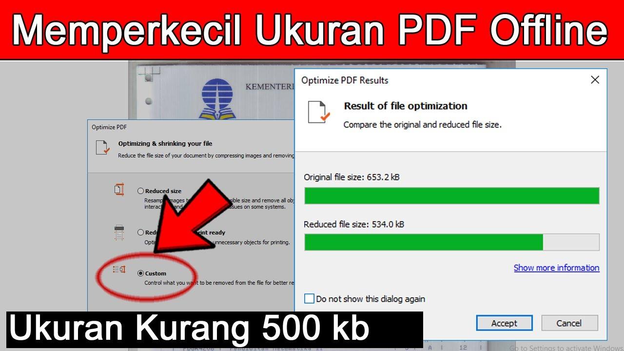 Cara Memperkecil Ukuran Pdf Offline 500 Kb Youtube