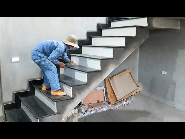 Construction And Install Stairs With Granite - Finishing Beautiful Stairs For The Living Room