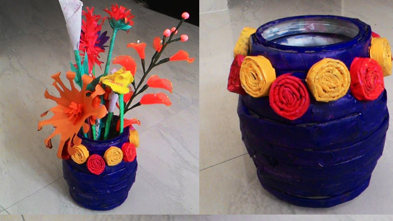 How to make newspaper flower vase newspaper crafts youtube for Art and craft pot decoration