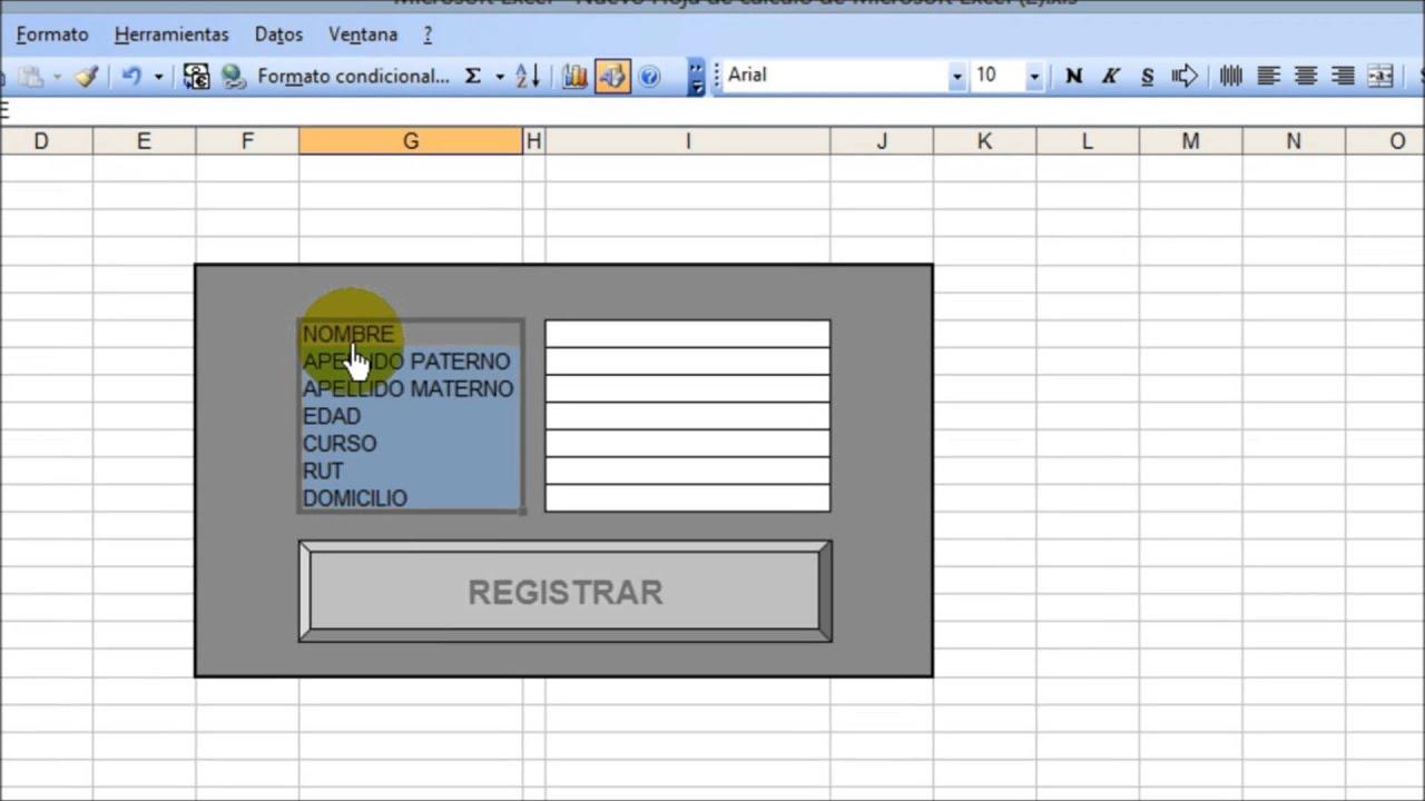 Como hacer un formulario para ingresar datos en una hoja de ...