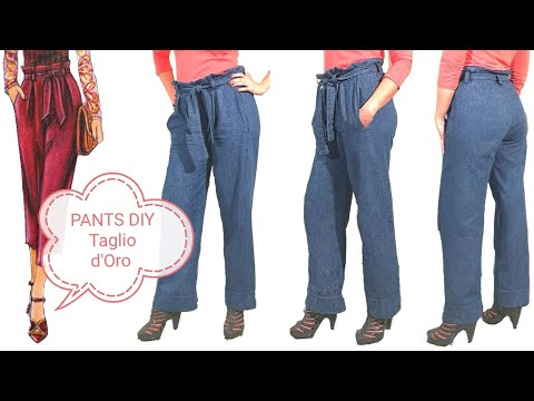 DIY PAPER BAG PANTS - Pantalone jeans facile con Taglio d'Oro